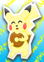 Pikachu eating a donut by MikariStar