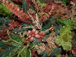 Christmas Tree Copper and Gold Foliage background by EveyD
