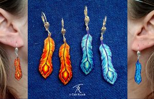 Phoenixfeather Earrings by TrollGirl