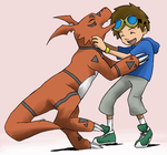 Takato and Guilmon by LilFleur