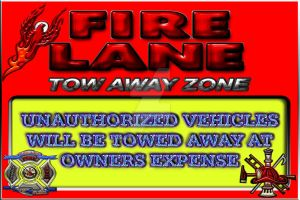 Fire Lane Tow Away Zone Sign by BlakeHenryRobson