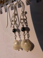 silver earrings with pearl by irineja