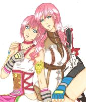 Light and Serah:Farron Sisters by ClaireRoses