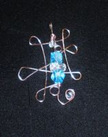 wire wrapped pendant blue by faranway