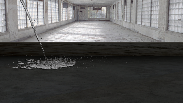 Water on Concrete floor by evilpaw24614