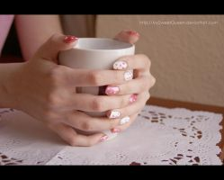 Pink Polka Dots Nails by MySweetQueen