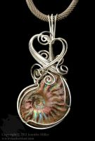 Rainbow Bands Ammonite Pendant by Nambroth