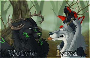 Wolvie and Lava badge by hecatehell