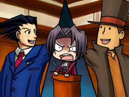 Layton vs Edgeworth by morganchan