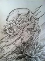 skull and lotus concept drawing for my half sock . by gkarts661