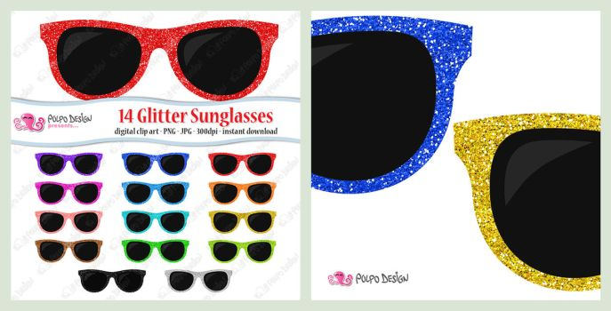 Colorful Glitter Sunglasses clipart by PolpoDesign