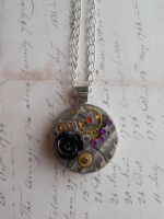 Stempunk pendant with rose, gears and zircons by SteamJo