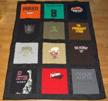 Lap size Tshirt quilt with Sashing by quiltoni