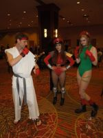 Ryu, Fem-Bison, and Cammy @ A-Fest 2014 by Heero-Yuy01