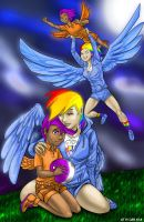 Sister Team Rainbow Dash and Scootaloo by ChrisHolm