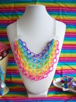 Rainbow Chain Link Necklace by lessthan3chrissy