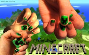 MineCraft Creeper Nailsssss by thatcoldmask