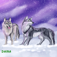 Wolves in the Snow by TigresaDaina