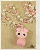 Clay Flurry Pig by LolleBijoux