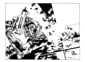 Apes with Uzis inks by stevenrussellblack