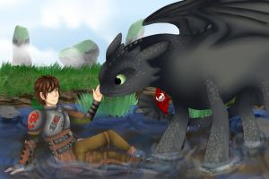 Hiccup and Toothless by summ78