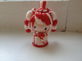 Polymer Clay Candy Cane Chibi by Fluffybunnycharms