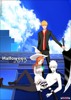 Hichigo, Ichigo and Orihime halloween by FlairMatriX