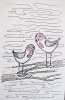 Two birds on a branch by pagone