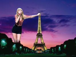 Taylor towering over the City of Light by joe116able