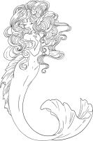 Lineart for Mermaid by ShyniMoonStar