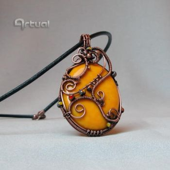 Copper wire pendant with large yellow glass bead by artual
