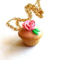 Scented Rose Cupcake Necklace by FatallyFeminine