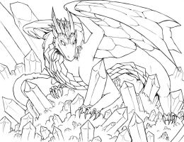 Crystal Dragon Lineart by raerae