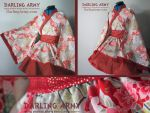 Japanese Golden Fan Wa Lolita Cosplay Kimono Dress by DarlingArmy