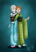 Kimono Disney Princesses : Elsa and Anna by Atomicfrog83