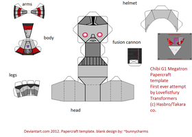 chibi G1 megatron papercraft template by lovefistfury