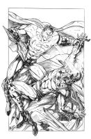 Superman VS. Magneto for coloring by jey2dworld