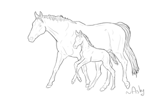 Horse lineart 6 mare and foal by PSitsAshy