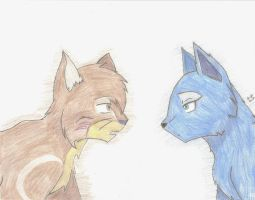 Oakheart and Bluefur by YellowfangOfStarclan