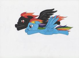 Feathers Dash and Rainbow Dash by Tomatobox96
