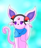 Pokemon - Espeon (Headphones Pokemon - Version 2) by ZoruDawn