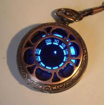 Copper rose LED pocket watch by ScatterbrainEmp