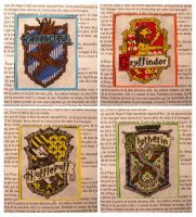 Hogwarts house crests x-stitch by Japanfanzz