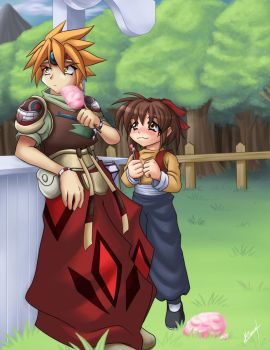 Ark and Meilin meet in Liotto by Yet-One-More-Idiot