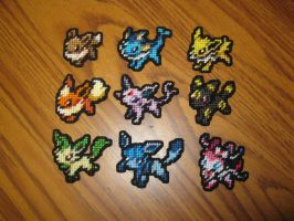 Pokemon Sprite Stitches - Eevee and Evolutions by UWorlds