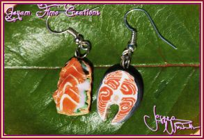 Salmon Special Earrings by Jeyam-PClay