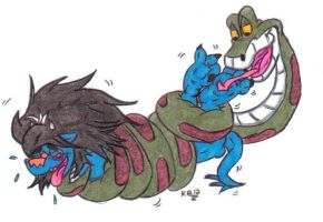 Amru and Kaa: Tickling the Dovah Paws by KnightRayjack