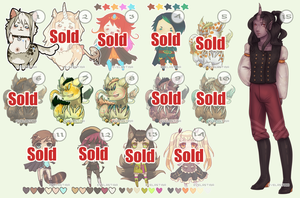 [OPEN] Unsold Adoptables! 3 LEFT! PRICE DROP by Valkymie