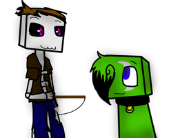 Me and Guardian as Minecraft Mobs by SparkyChan23