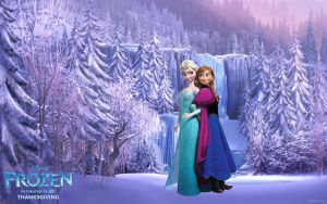 Frozen-Wallpaper-Elsa-Anna I by Vegetto90
